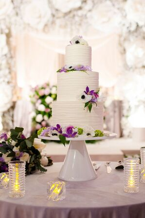 White-and-Purple Cake for Wedding at The Chicago Art Institute