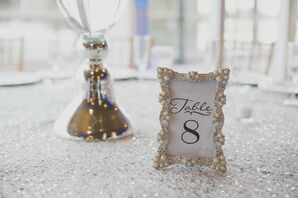 Silver Sequined Table Linens
