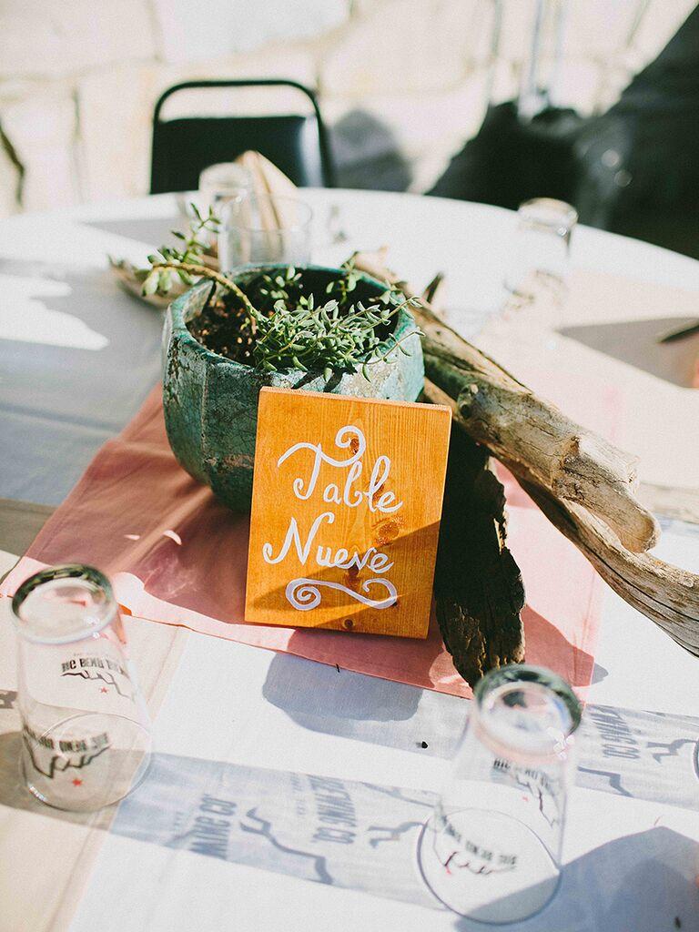 DIY wedding reception table number idea