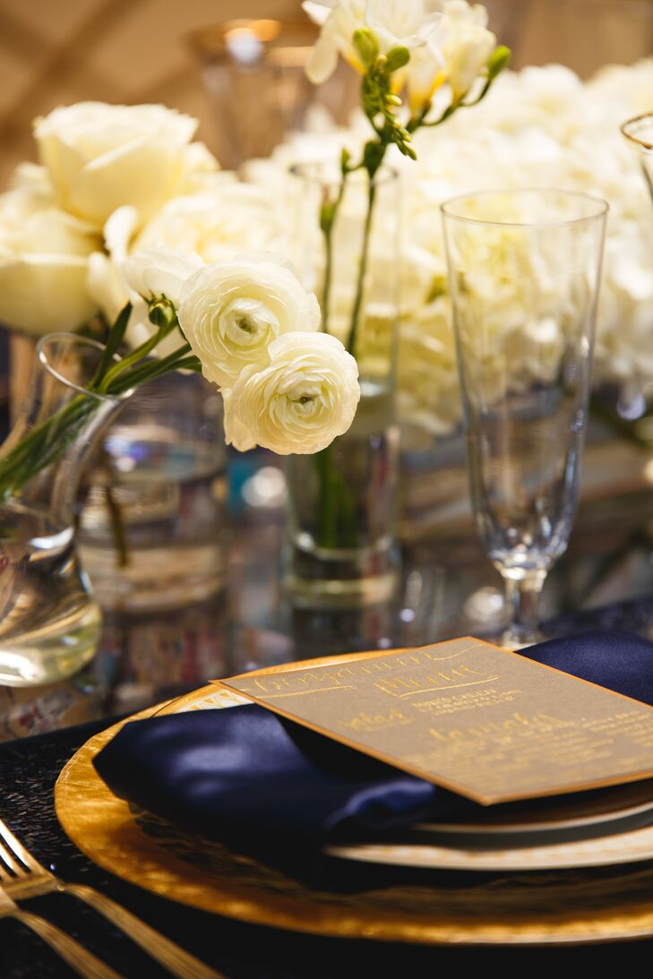 Blue Dining Table with Gold Accents