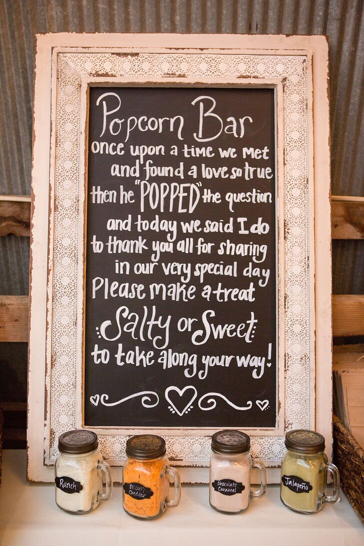 DIY Chalkboard Popcorn Bar Sign
