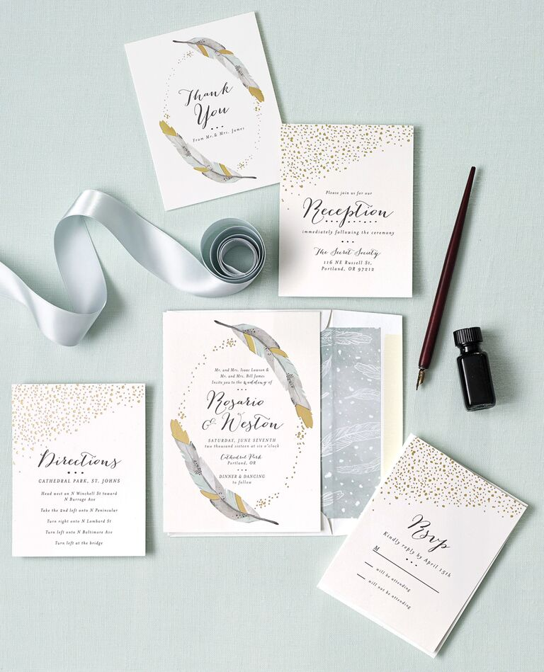 Feather gold foil wedding invitation