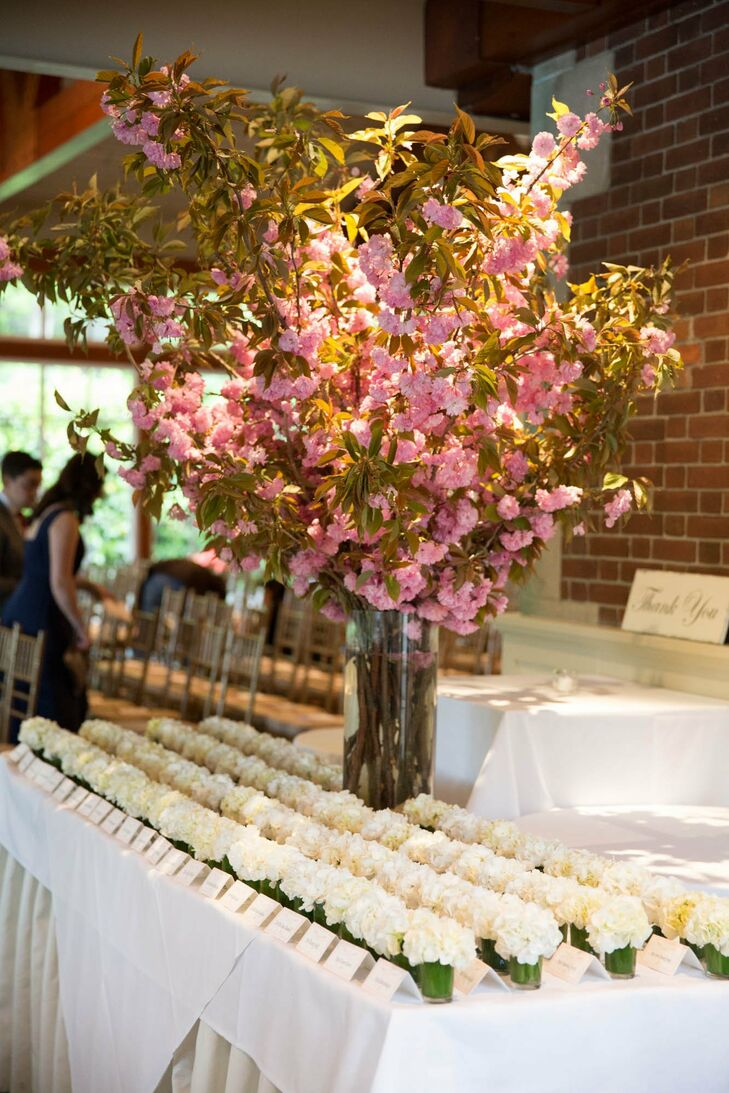 When picking up their escort cards, guests also grabbed a small potted hydrangea to take home.