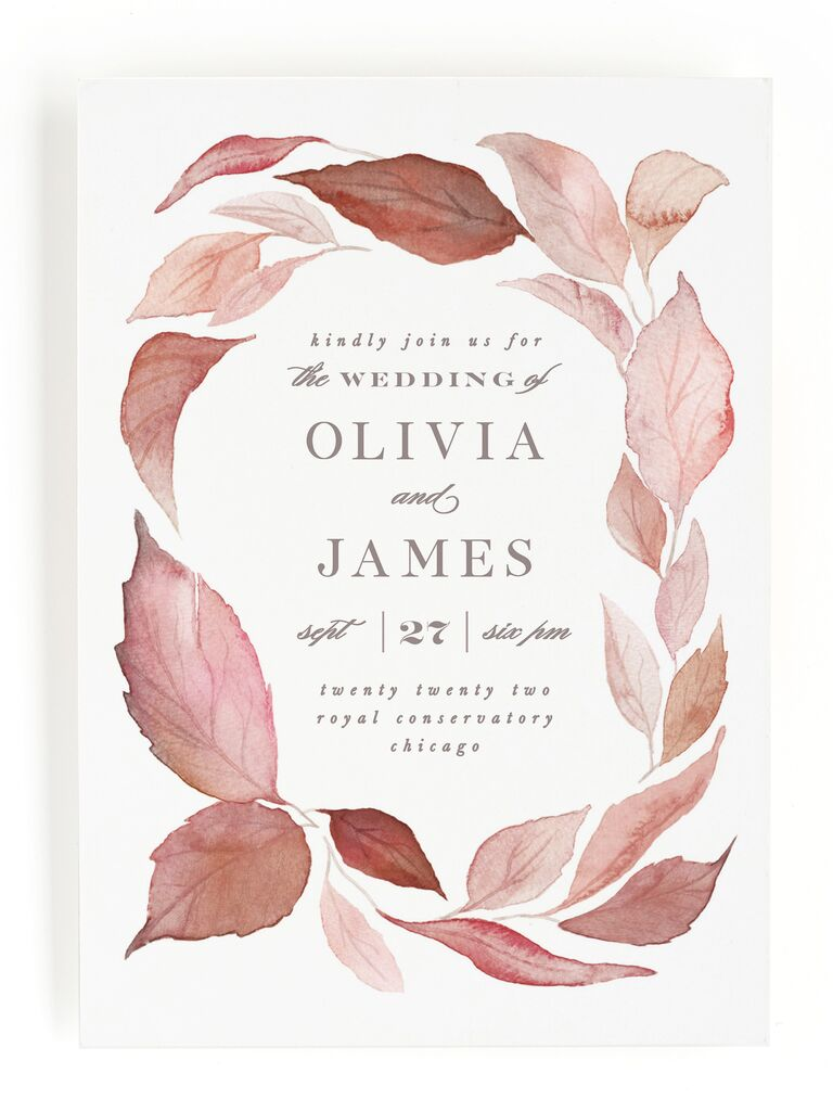 Autumn leaf fall wedding invitation