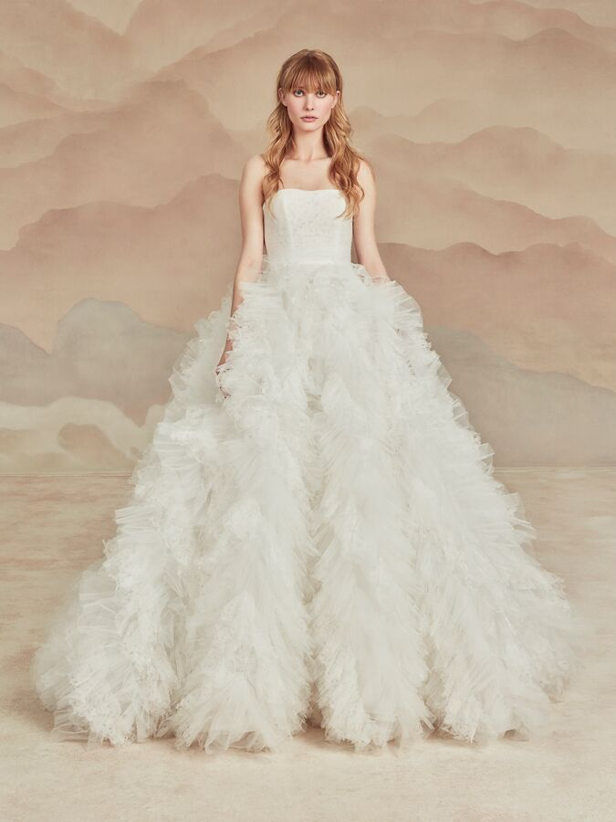 Ines Di Santo ball gown with textured skirt