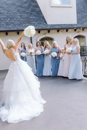 Bridal Party First Look With Bridesmaids in Blue Dresses