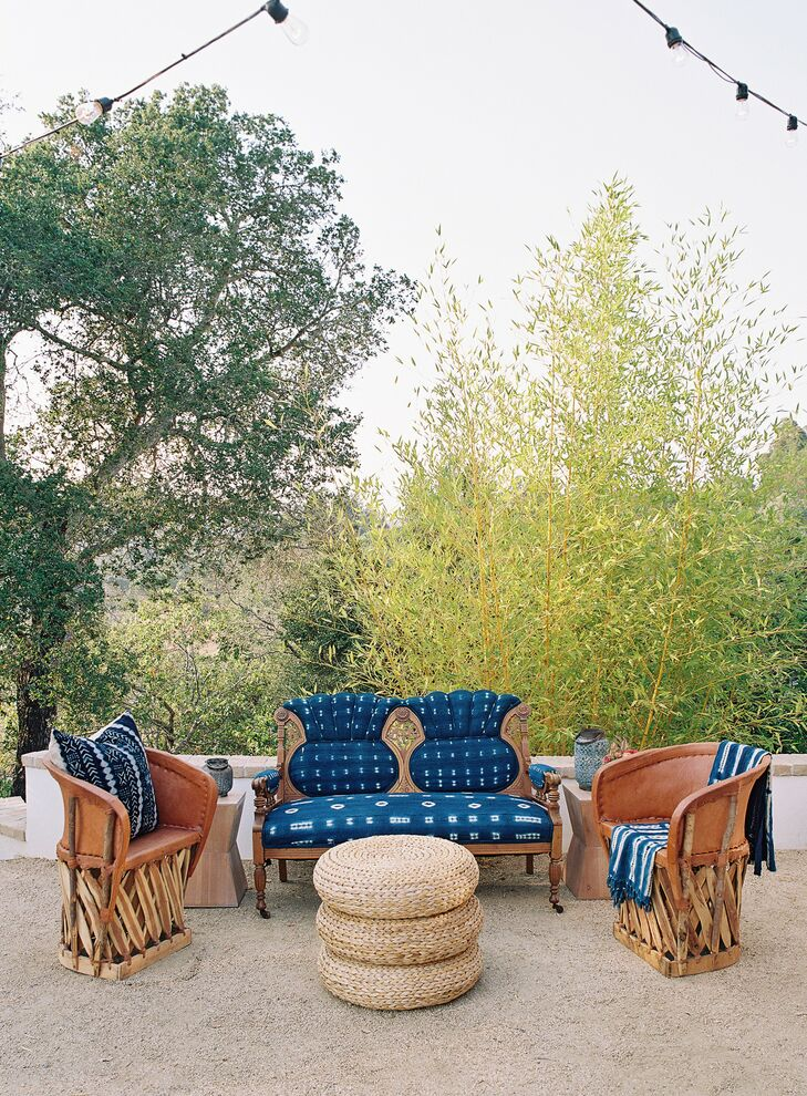 Navy and Rattan Lounge Furniture in Woodside, California.