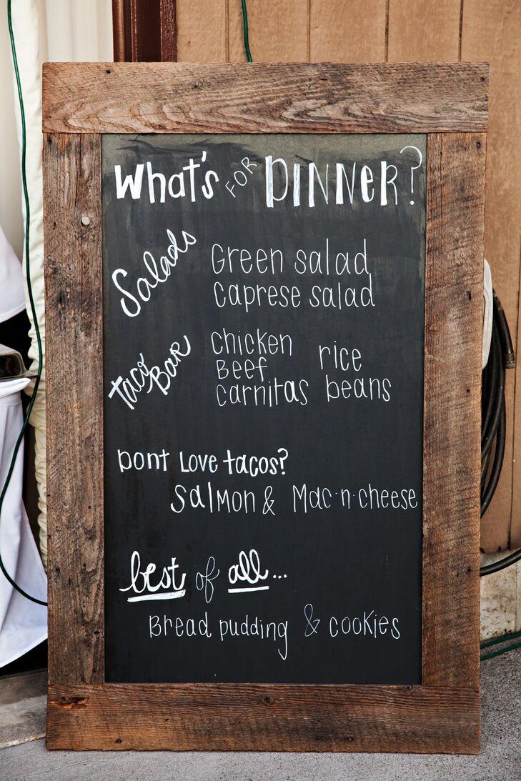 Wooden Chalkboard Reception Dinner Menu