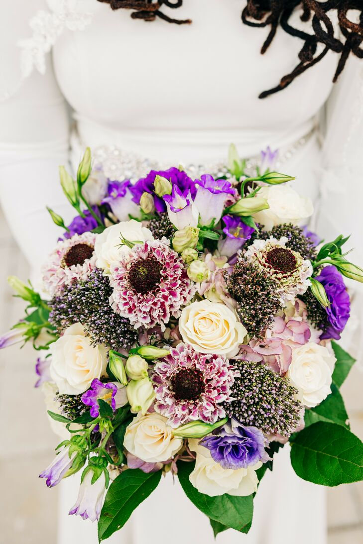 Purple Bouquet for Wedding at The Hotel Concord in North Carolina