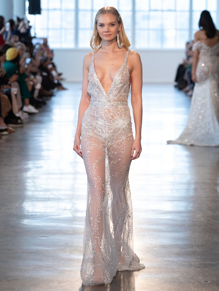 Berta Spring 2020 Bridal Collection sheer plunging wedding dress