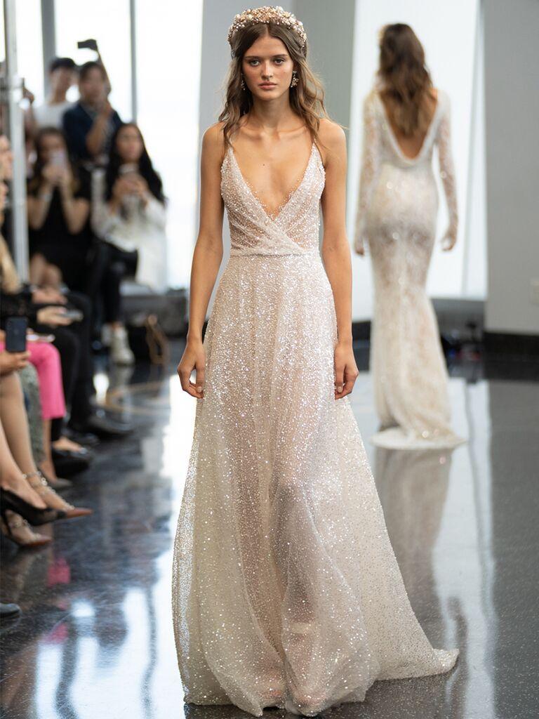 sleeveless gown criss-cross dress