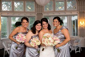 One-Shoulder Silver Bridesmaid Dresses