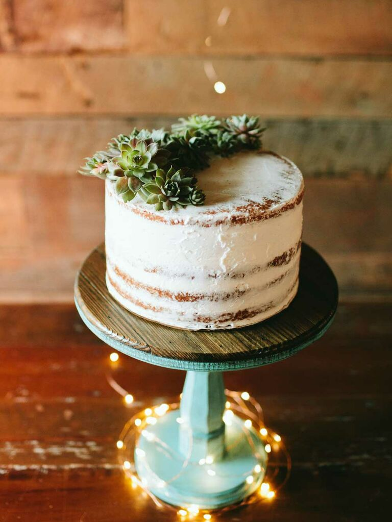 Semi-naked wedding cake with succulents