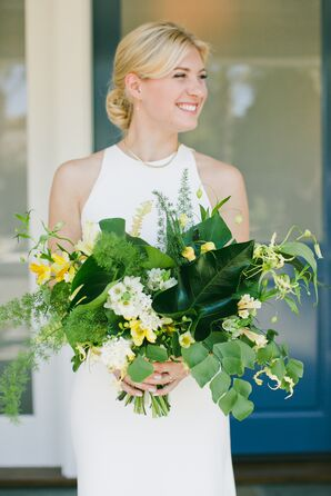 Large, Leafy Green Bridal Bouquet With Fern Leaves