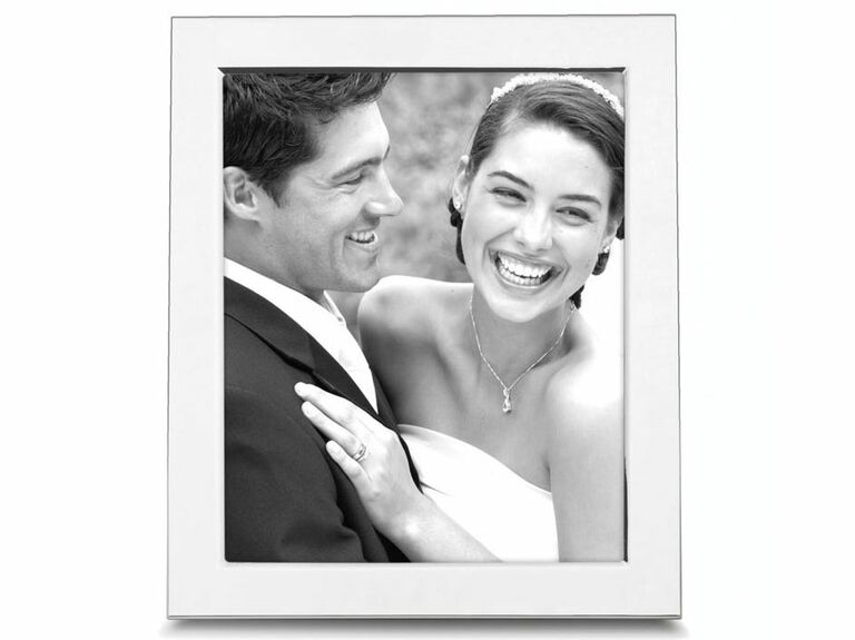 Simple silver wedding picture frame