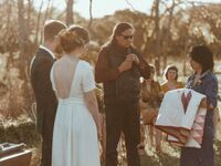 Officiant talking during Native American wedding