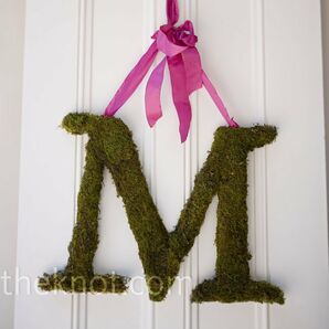 Moss-covered Initial Decor