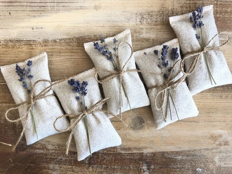 etsy cotton sachets with dried lavendar or rose petals for paris themed bridal shower