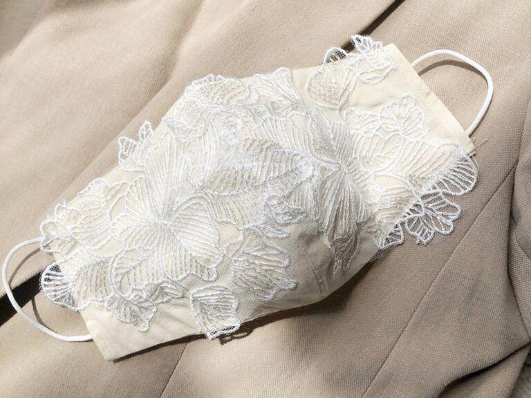 Ivory and white lace wedding mask
