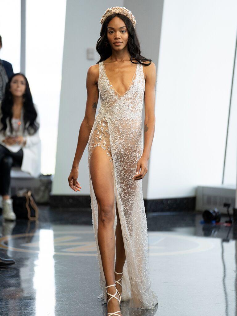 sleeveless gown high slit v-neck