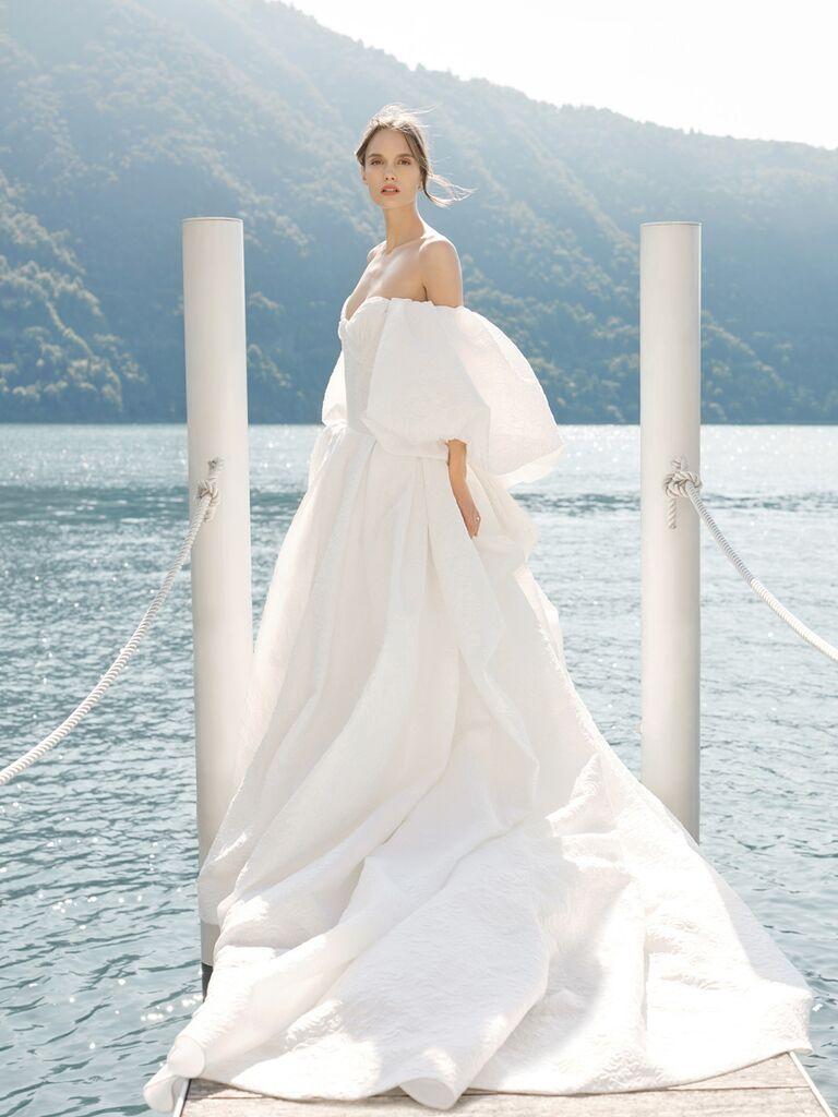 monique lhuillier ballgown with statement sleeves