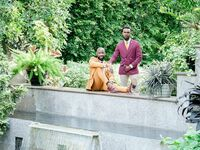 Engagement photo session at arboretum