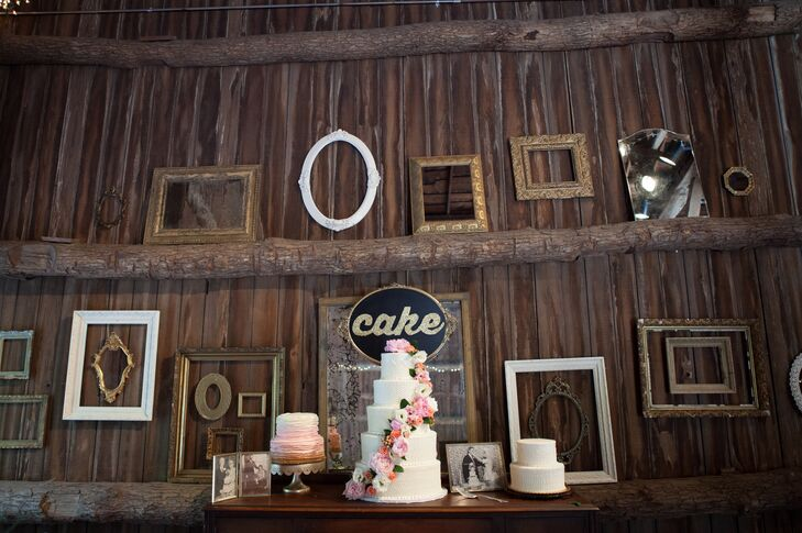 Wood Reception Decor with Frames