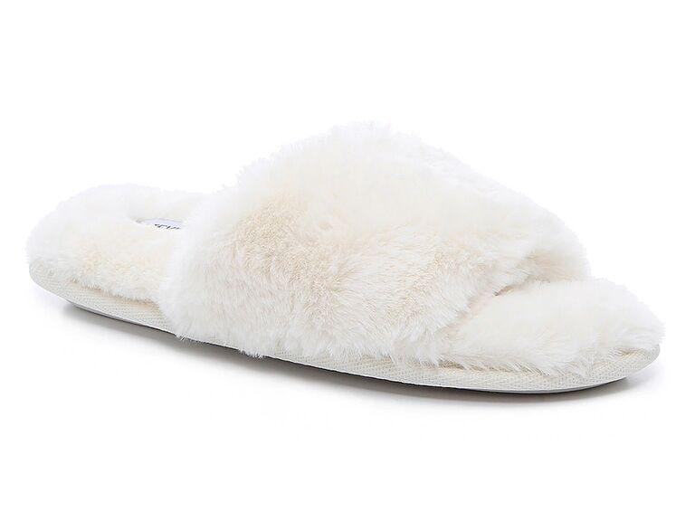 dsw steve madden white fur bride slippers