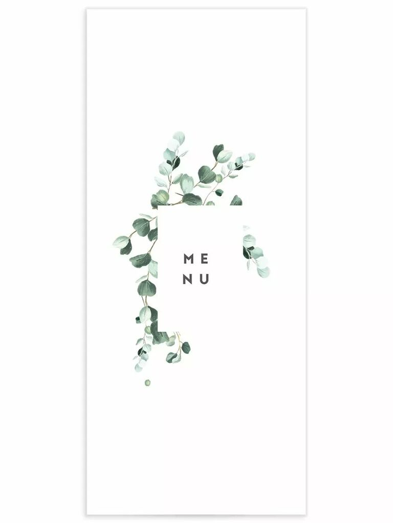 'Menu' in modern type in white rectangle bordered by eucalyptus on white background