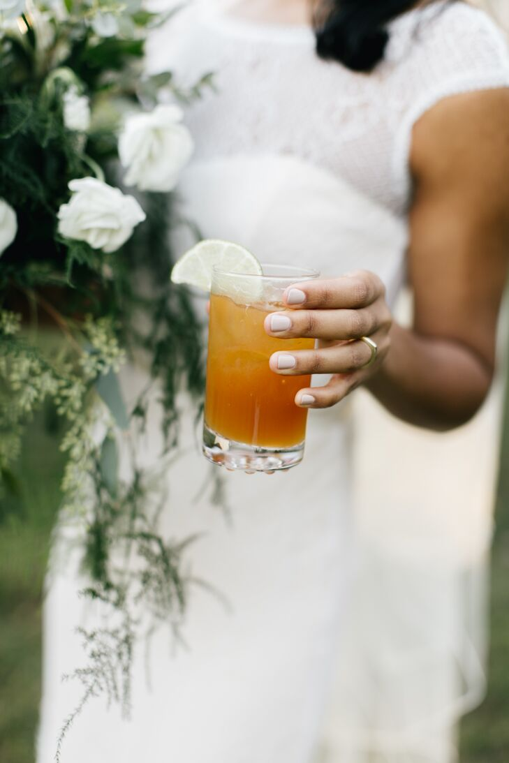 The couple's signature cocktails included Heather's, Dark 'n Spicy, a play on the dark and stormy but with Jamaican allspice flavoring, playing to her Jamaican heritage, and Robert's Old Fashioned and Manhattan combination.