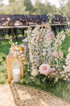 Whimsical Aisle Decorations with Lanterns and White Delphiniums