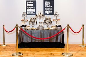 Hip-Hop-Inspired Dessert Table with Silver Linen, Red Ropes and Lyric Signs