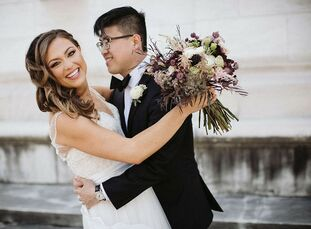 For their wedding in Detroit, Melissa and John Kim were inspired to create an atmosphere that felt like a cozy dinner party in their home. The bride d