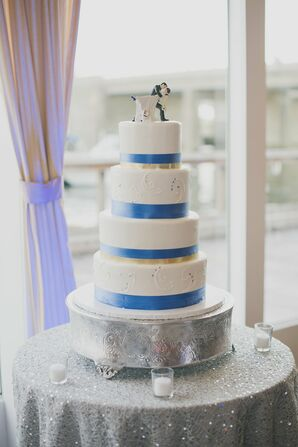 Blue and White Wedding Cake With Tiers