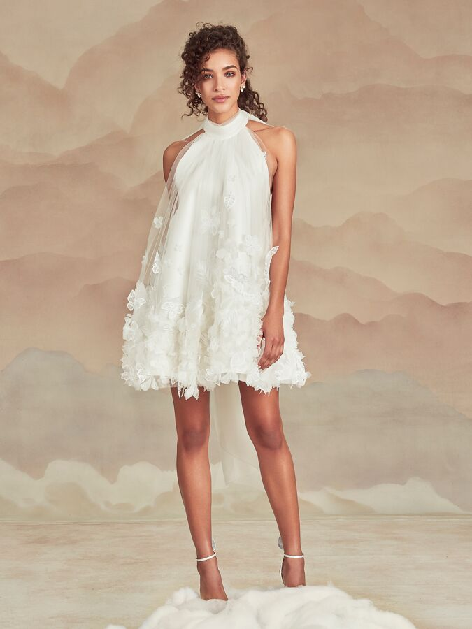 Ines Di Santo short halter dress with 3D flowers