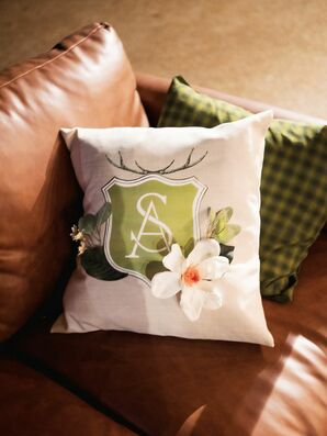 Monogrammed Lounge Pillow at Rustic Estate Wedding in Ladue, Missouri