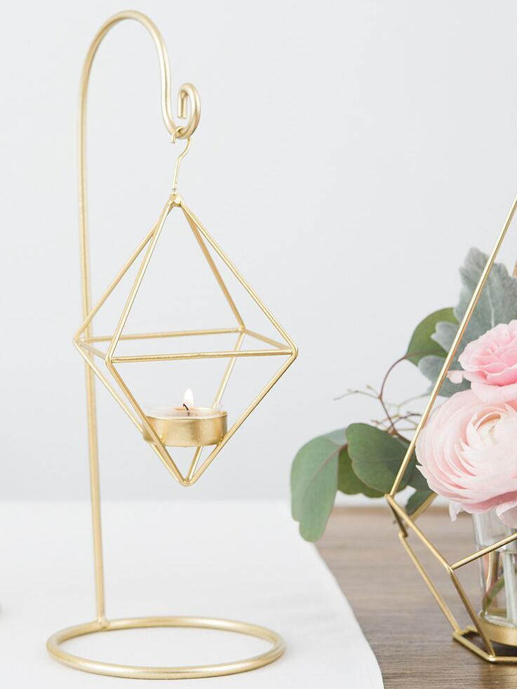 The Knot Shop small gold geometric hanging tealight holder