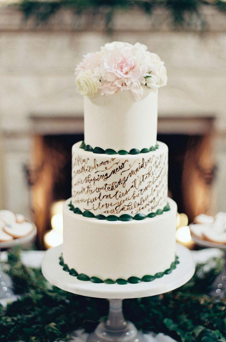 fondant wedding cake with cursive script detail