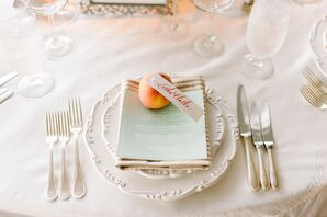 Peach Escort Cards and Vintage China