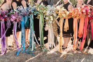 Rainbow-Hued Wedding Party Bouquets at Blue Vista in Randolph, Kansas