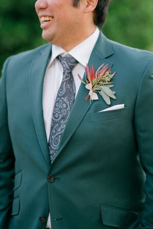 Hunter-Green Suit and Blue Paisley Tie