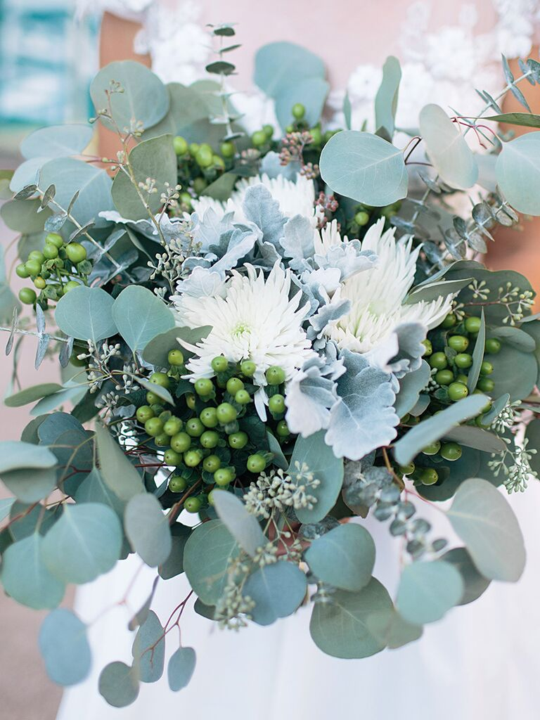 A fragrant bridal bouquet with mums and eucalyptus