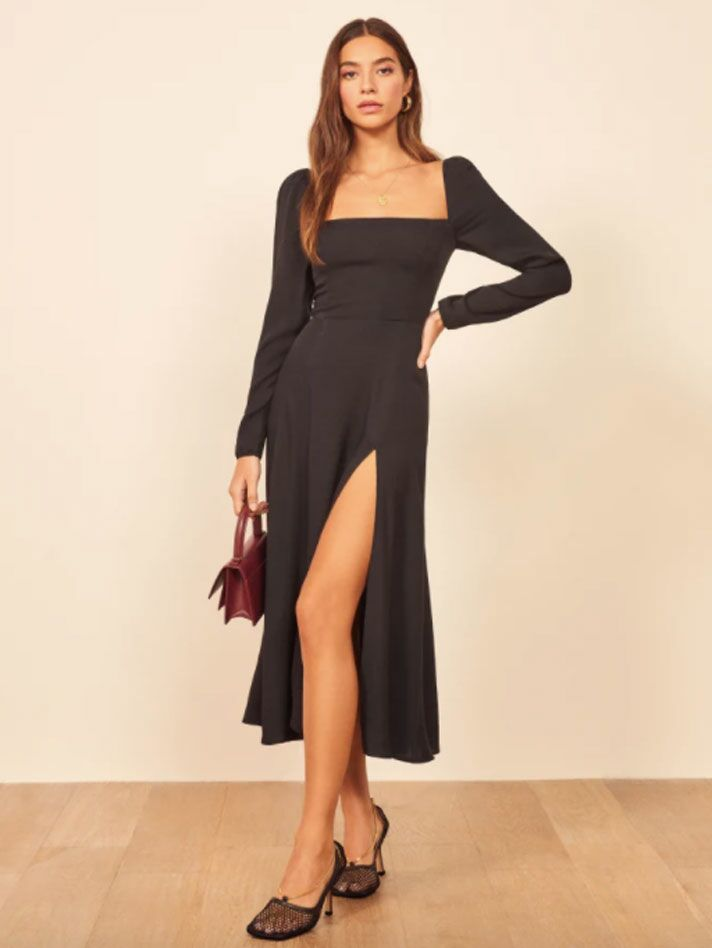 Black long sleeve fall wedding guest dress with square neckline and leg slit