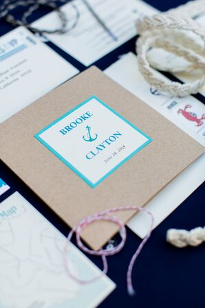 Brown and Teal Nautical Wedding Invitation