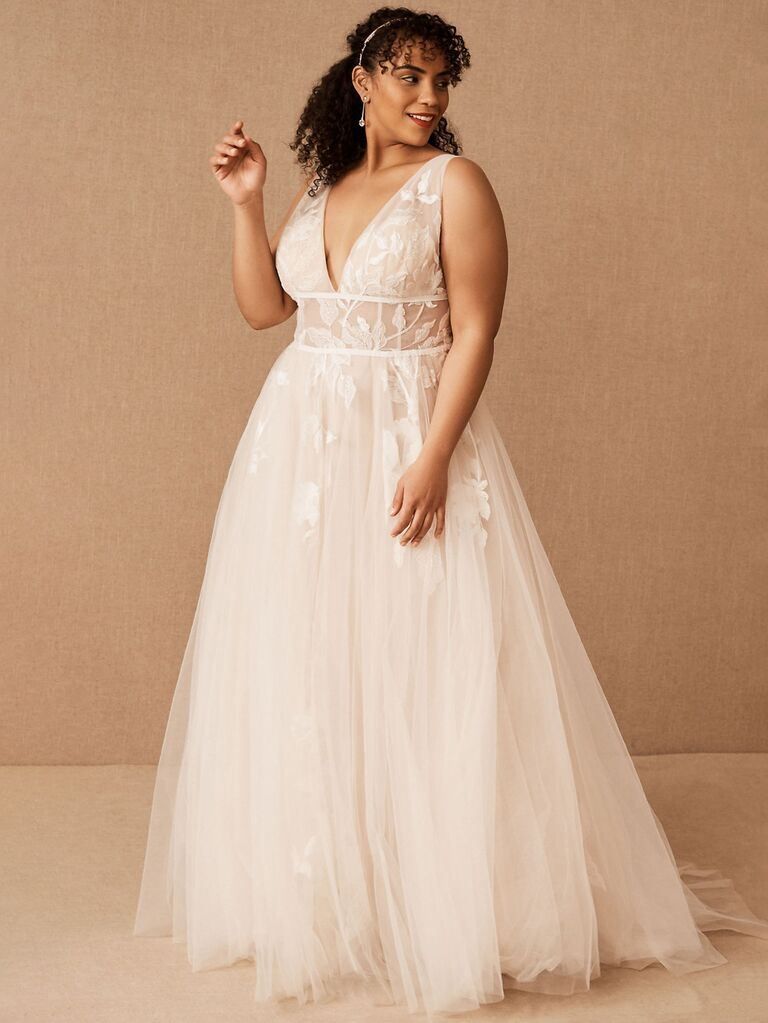 bhldn watters off white a line wedding dress with thick straps v-neckline flowy tulle skirt open back and lace