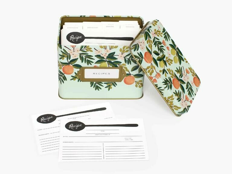 Floral print recipe tin with recipe cards