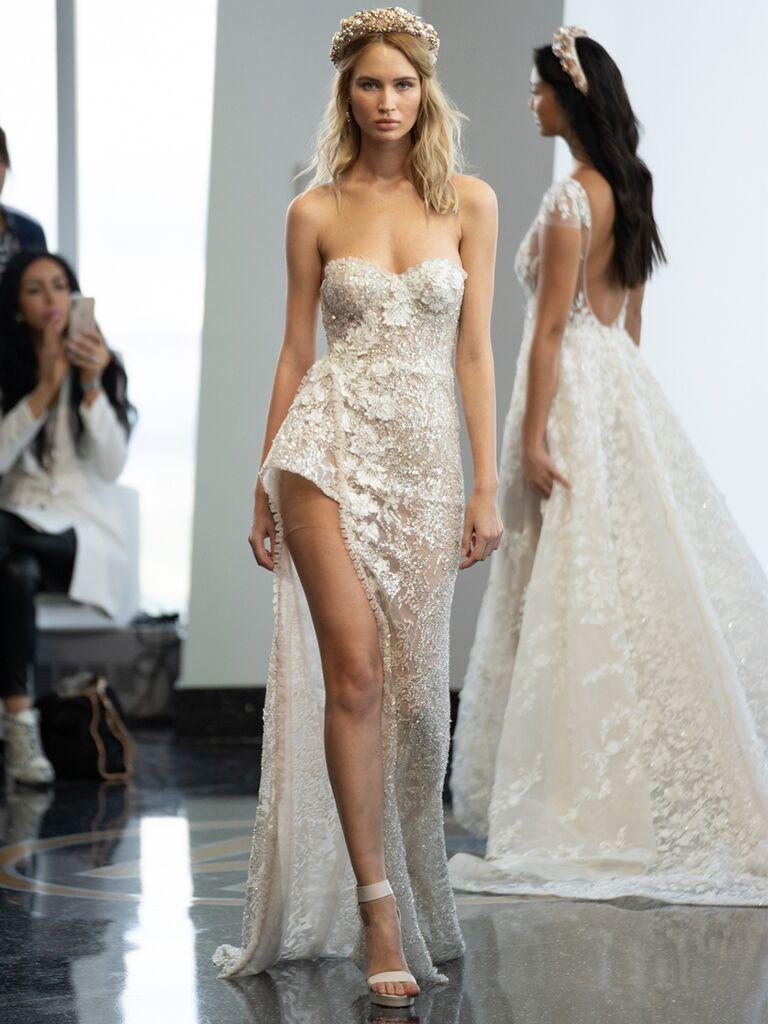 berta strapless sweetheart dress high slit sheer