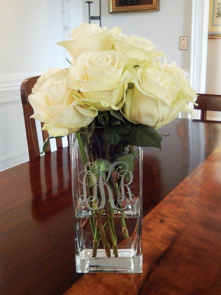 square monogram vase