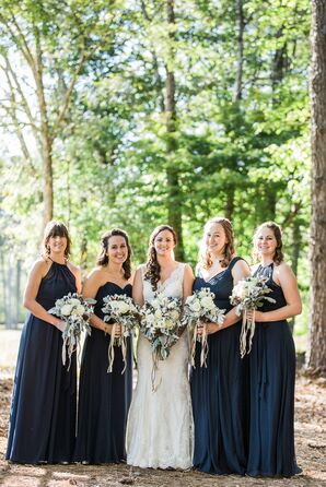 Bridesmaids in Navy Chiffon Dresses
