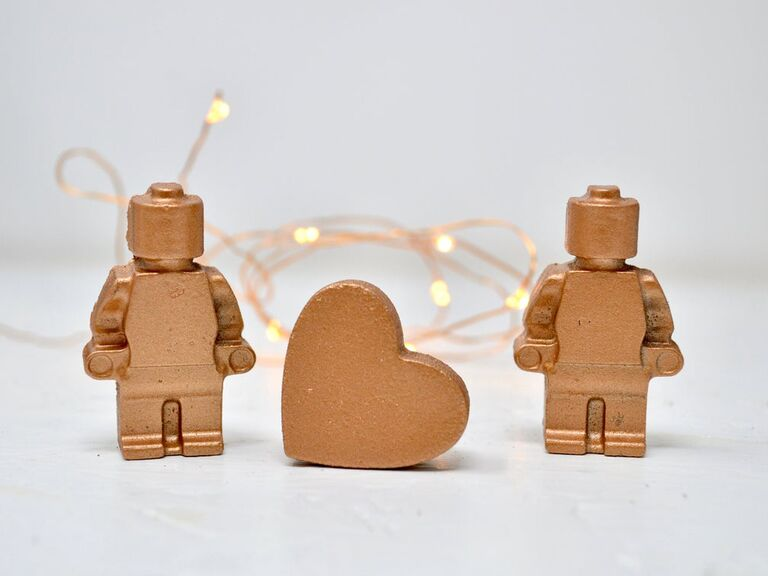 Mini copper characters and copper heart traditional 7 year anniversary gift